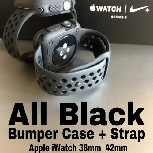 Foto Produk Apple Watch Strap iWatch 38 42mm NIKE DESIGN BUMPER + STRAP ALL BLACK - 42mm dari AppShoppe