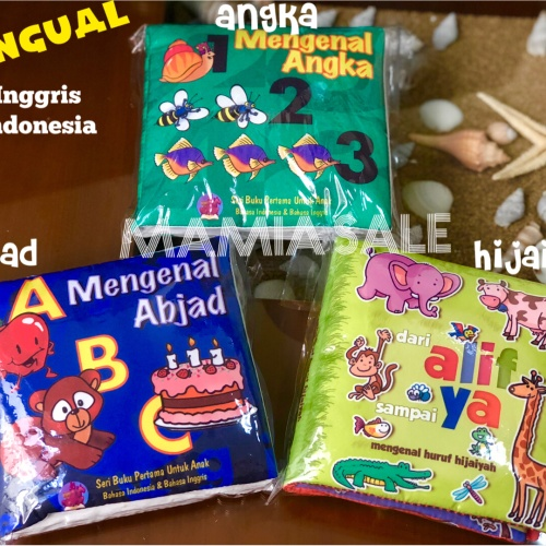 Foto Produk Soft book buku bantal kain HIJAIYAH abjad huruf angka mainan bayi dari Mamia Sale