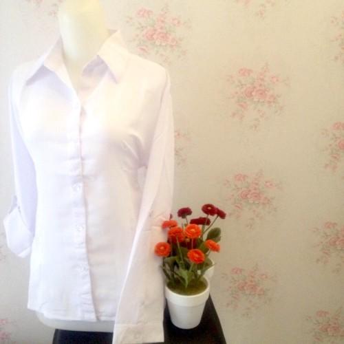 Foto Produk Kemeja blus putih polos wanita silk tosibo japan dari Orlenachang