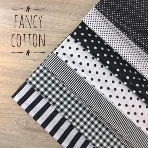 Foto Produk kain katun jepang motif black and white series - kode A dari Fancy Cotton