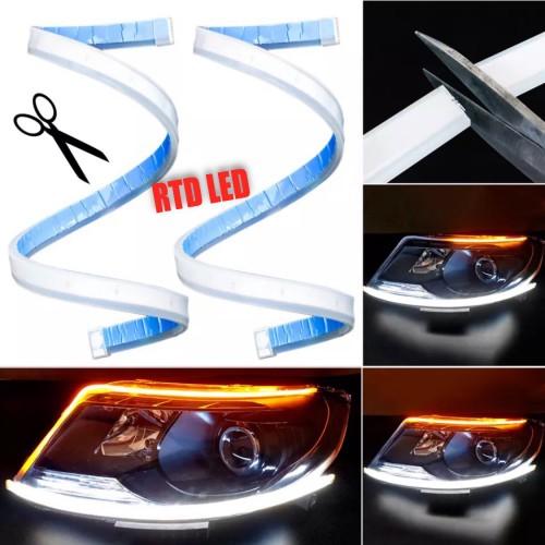 Foto Produk Lampu alis Drl flexibel Slim 45 Cm Waterproof 2 Pcs Sepasang R039 - Putih dari RTD LED