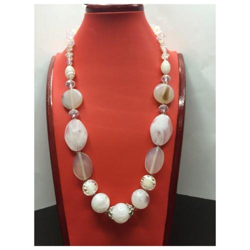 Foto Produk Kalung Batu + Bead kombinasi putih panjang dari MarsChey Collections