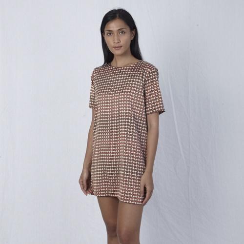 Foto Produk Brown motif T-shirt dress dari Khajaana