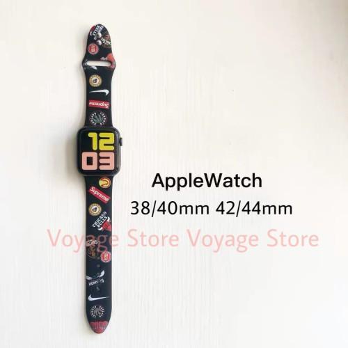 Foto Produk Strap rubber apple watch 5 4 44mm 42 40 38 mm NBA supreme nike karet - Hitam, 38mm dari Voyage Store