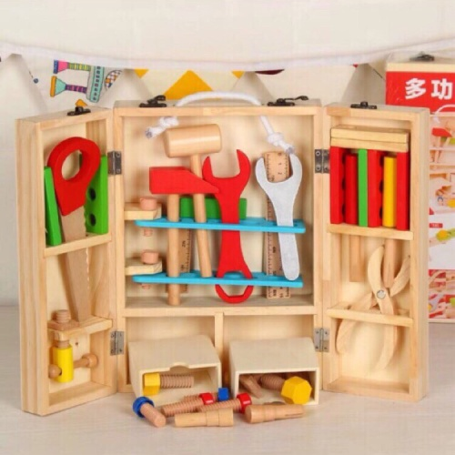 Foto Produk Wooden Toy Tool Builder Construction Set - Mainan Edukasi kayu dari My Own Flashcards