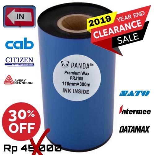 Foto Produk 110mmX300m BARCODE RIBBON WAX (Face In) PANDA Thermal Transfer Ribbon dari PANDA RETAIL SOLUTIONS