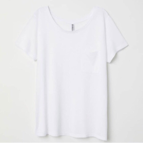 Foto Produk Kaos Wanita HnM H&M Basic Pocket Tee White Original Murah Putih Polos - XS dari OTOMO Store
