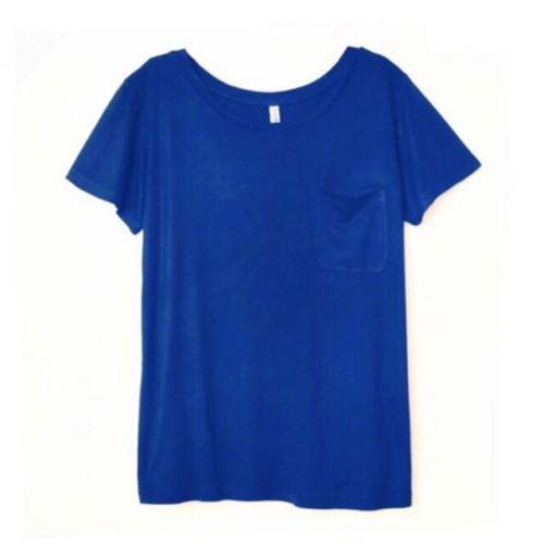 Foto Produk Kaos Wanita HnM H&M Basic Pocket Tee Blue Original Murah Biru Polos dari OTOMO Store
