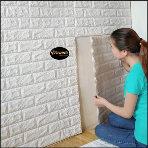 Foto Produk Wallpaper Foam 3D White Brick | 70CM x 77CM dari Premier Wallpaper