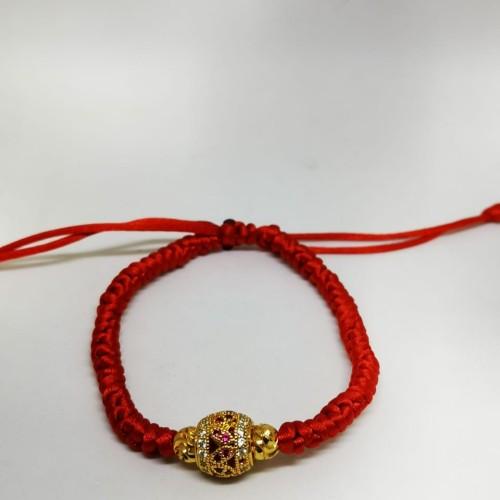 Foto Produk Gelang tangan wanita tali merah kombinasi lapis emas permata merah dari Tiara xuping