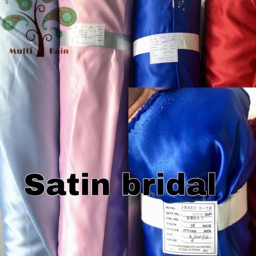 Foto Produk bahan kain satin saten pengantin bridal meter / grosir premium quality - 3801 hitam dari multi kain