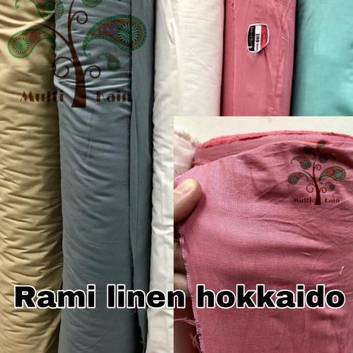 Foto Produk bahan kain rami linen hokaido polos meteran / grosir quality premium - 2or3975birudust dari multi kain