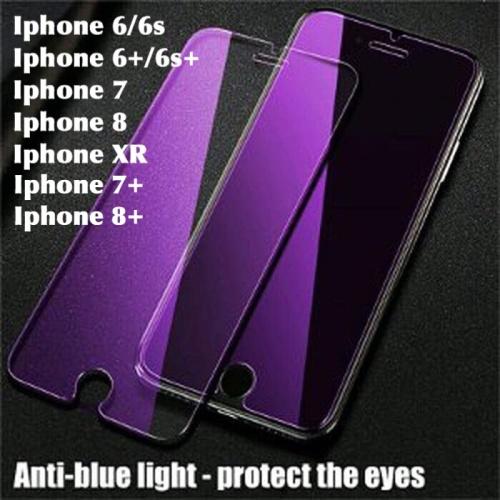 Foto Produk Tempered glass anti bluelight UV iphone 6 6s 7 8 plus 6s+ 6+ XR blue dari chic lit case