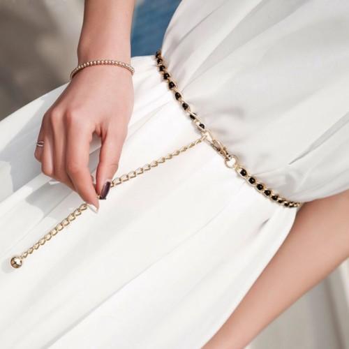 Foto Produk Belt Wanita Rantai Metal Pearl Rantai Ikat Pinggang Korea (white/black - Hitam dari Venditionis_shop