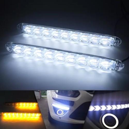 Foto Produk Drl Led Running Sen 9 Mata Crystal Lampu Drl Mobil R094 - Biru dari RTD LED