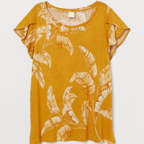 Foto Produk Kaos Wanita HnM H&M Fluonce Sleeved Top Tee Dark Yellow Original - S dari OTOMO Store