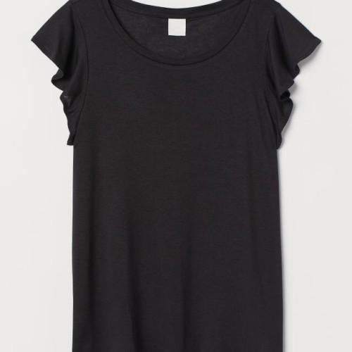 Foto Produk Kaos Wanita HnM H&M Fluonce Sleeved Top Tee Black Original Murah Hitam - XL dari OTOMO Store