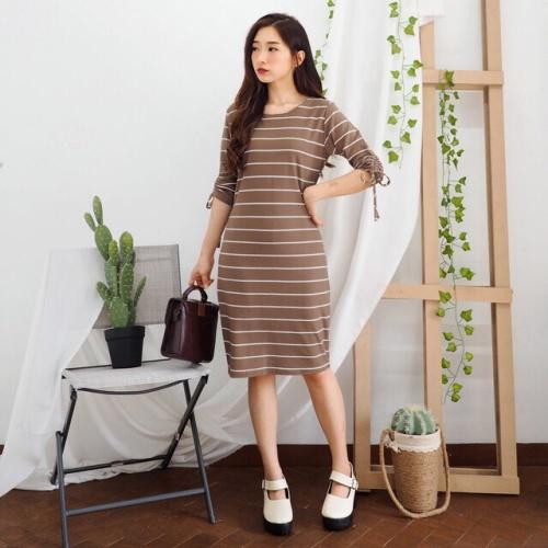 Foto Produk Terusan Wanita Motif Garis Midi Casual   Coco Basic Dress dari Nathalia Clothing