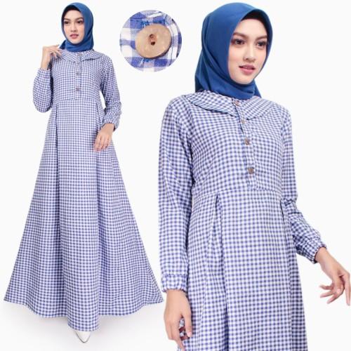 Foto Produk Gamis Wanita | Husna Maxi | Dress Muslim Katun | Original Tazkia Hijab - Biru dari Tazkia Hijab Store