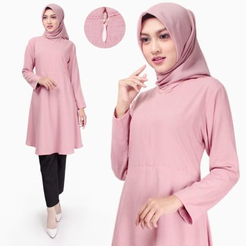 Foto Produk Atasan Muslim Wanita | Fladea Tunik | Blouse Katun Original - Dusty dari Tazkia Hijab Store