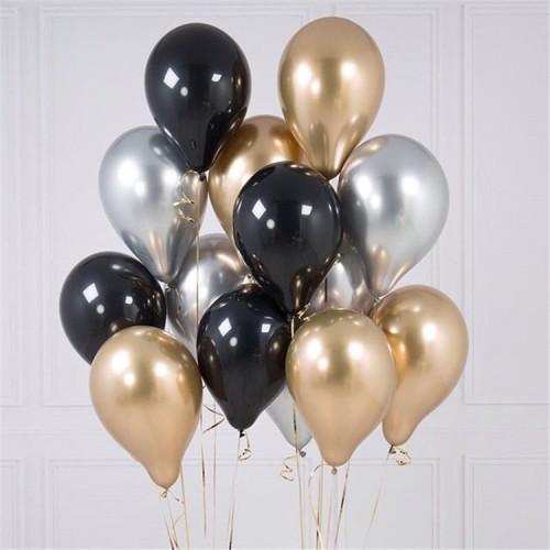 Foto Produk paket balon hitam gold metalik chrome marble dari fryingfat grocery