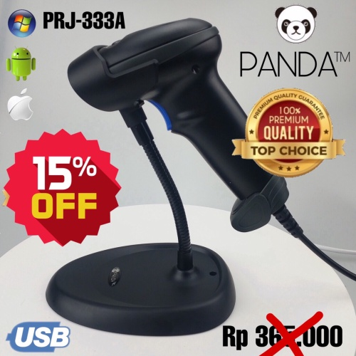 Foto Produk Auto-Sensing Laser 1D Barcode Scanner PANDA PRJ-333A Auto-Scan USB dari PANDA RETAIL SOLUTIONS