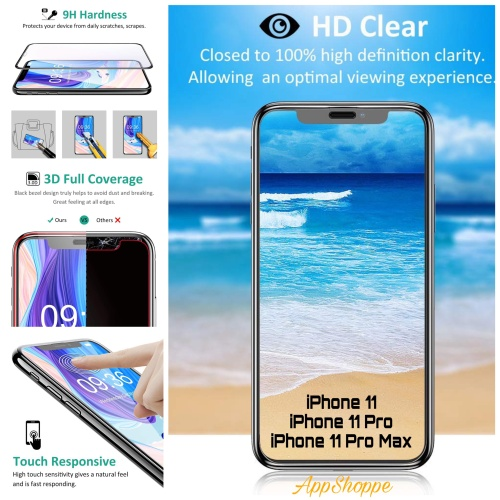 Foto Produk iPhone 11 TEMPERED GLASS Full Cover FRONT Screen Protector 11 Pro Max dari AppShoppe