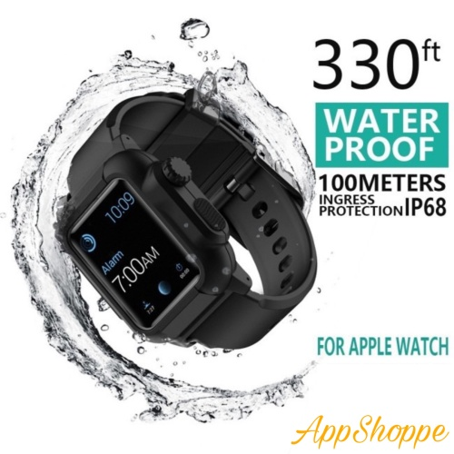 Foto Produk Waterproof Case for Apple Watch Band Bands Silicone Strap 42mm 44mm dari AppShoppe