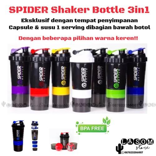 Foto Produk Botol Minum Smart Shaker Spider 3in1 Suplemen Fitness Gym Whey Gainer dari LASOM store