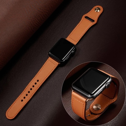 Foto Produk STRAP JAM KULIT LEATHER BAND APPLE WATCH IWATCH 1 2 3 4 5 38MM 40MM dari strapwatchidn
