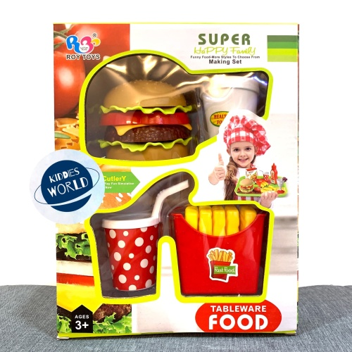 Foto Produk Mainan Edukasi Tableware Food Set Burger Kentang Minum Stacking Burger dari Kiddies World