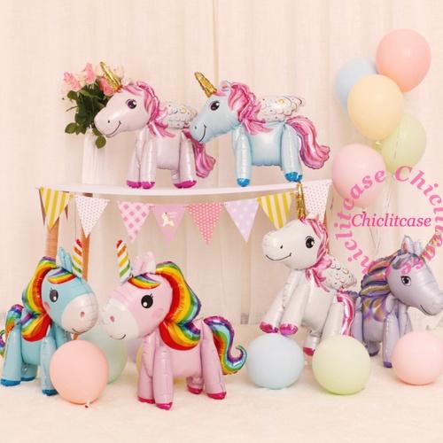 Foto Produk Balon foil unicorn standing 3D / pegasus / little pony FULLBODY - blue rainbow dari chic lit case