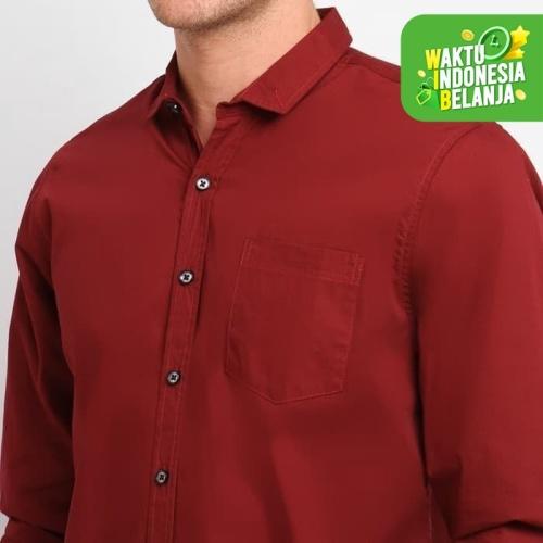 Foto Produk FTSL PPLL kemeja Polos Pria Lengan Panjang merah Baju Polosan Cowok - Navy, M dari ftslapparel