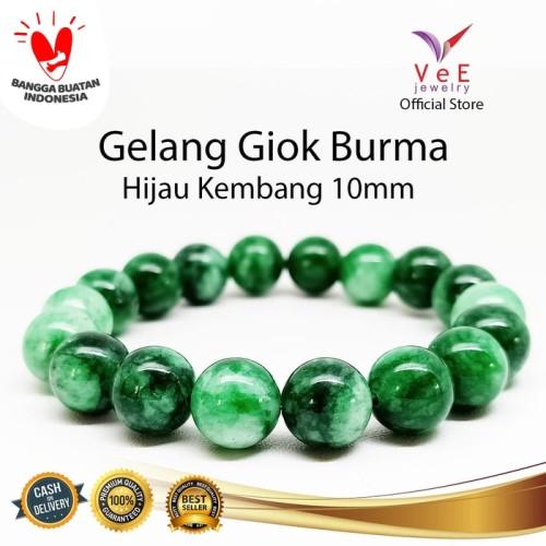 Foto Produk Gelang Batu Giok Burma Asli Hijau Kembang 10mm VeE Gelang Pria Wanita dari Vee Jewelry