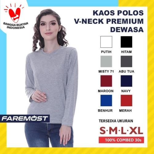 Foto Produk Faremost Kaos Polos Wanita Lengan Panjang V-Neck Combed 30s dari faremost clothing