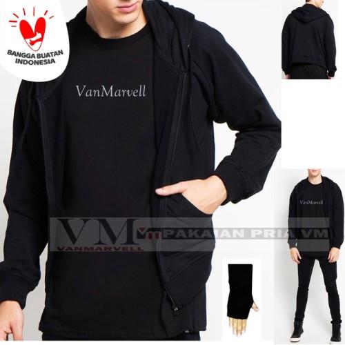 Foto Produk VM Jaket Zipper Polos Hoodie Full Sleting Abu tua - Hitam dari VM VanMarvell