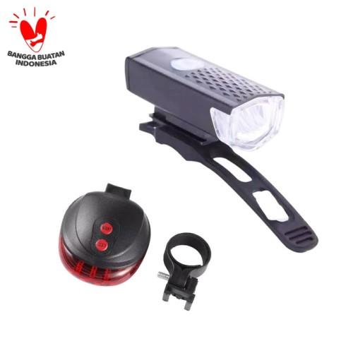 Foto Produk ( PAKET HEMAT ) Lampu Depan Sepeda LED & Lampu Laser Belakang Sepeda dari PINZY Official Store