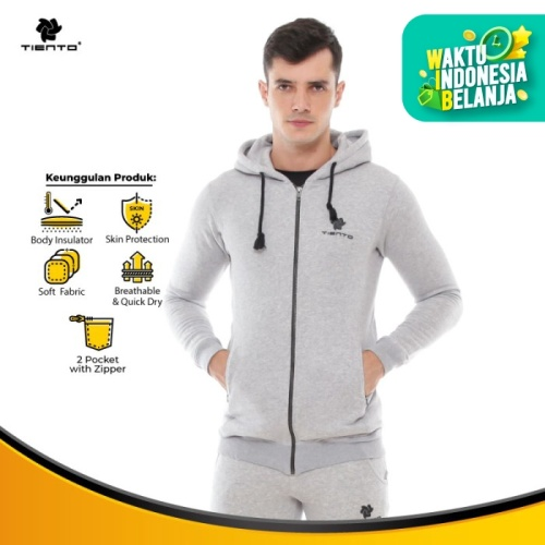 Foto Produk Tiento Jacket Fleece with Zipper Pocket Sporty Misty Jaket Olahraga - L dari TIENTO