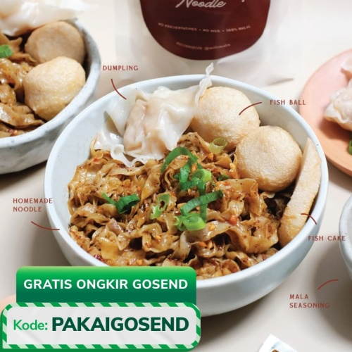 Foto Produk Dry Mala Noodle - with Dumpling & Fish Cake - Mie Szechuan Millimala - 1 Portion dari Millimala