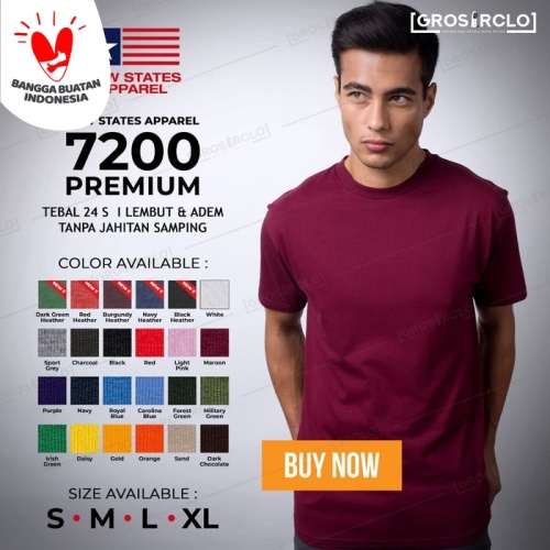 Foto Produk Kaos Polos NSA 7200 Premium Cotton T shirt Original Murah S M L XL dari Grosir clo