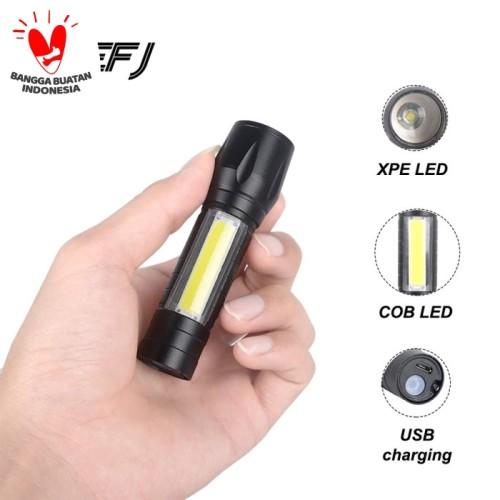 Foto Produk Senter XPE USB cob mini usb recharger zoom led Q5 dari cyber