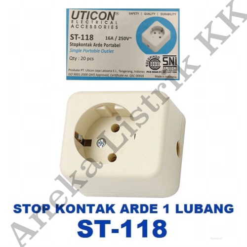 Foto Produk UTICON STOPKONTAK ARDE 1 LB STOP KONTAK LOBANG 1 isi 1 ST-118 dari Aneka Listrik KK
