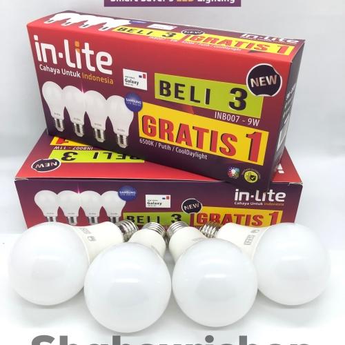 Foto Produk LAMPU LED BULB IN-LITE INLITE INB007 3 GRATIS 1 9W 9 W WATT BERGARANSI - Putih dari Shahsuri Shop