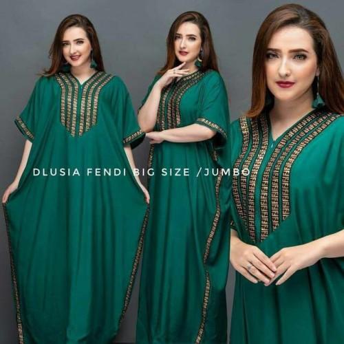 Foto Produk Dlusia Fendi Jumbo | Daster arab | Dress Arab| Kaftan - Hitam dari Osya Collection