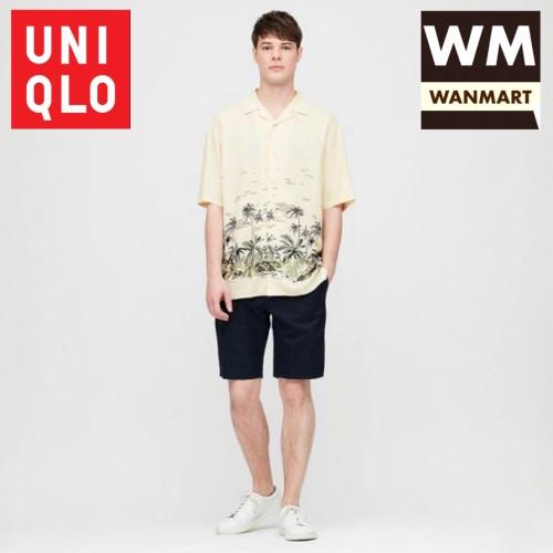 Foto Produk UNIQLO Men Kemeja Pria Rayon Motif Kerah Terbuka Lengan Pendek Natural dari WAN-MART