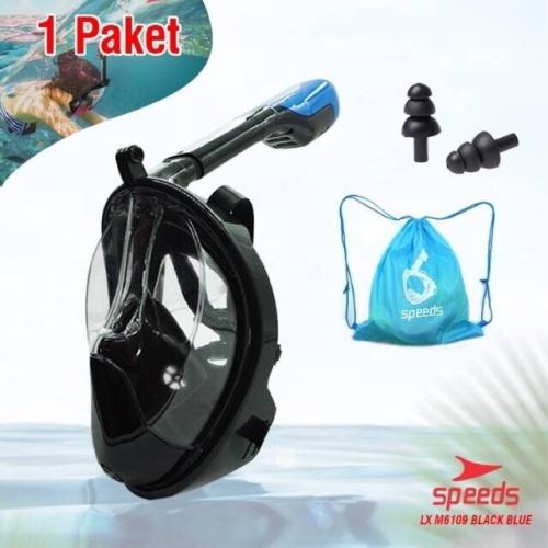 Foto Produk Full Face Snorkel Mask Scuba Diving Snorkeling Set For GoPro Dry 6109 dari LELUTO SPORT