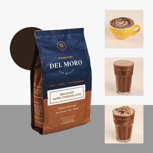 Foto Produk DELMORO Belgium Dark Chocolate 800gr-Bubuk Serbuk Minuman Rasa Coklat dari Del Moro