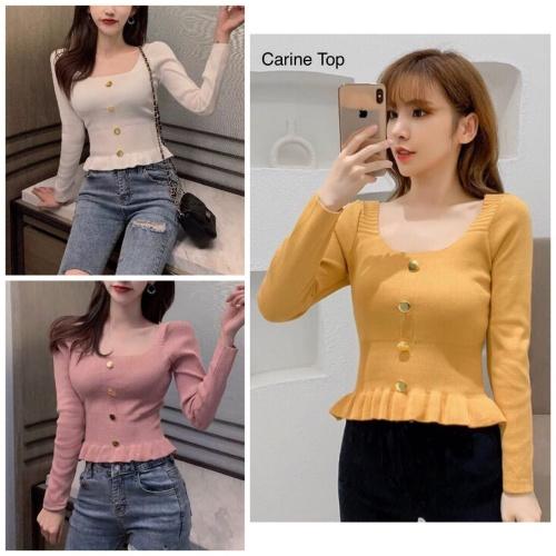 Foto Produk Knit long sleeve top cewe wanita blouse pink mustard white putih murah dari MedanLand