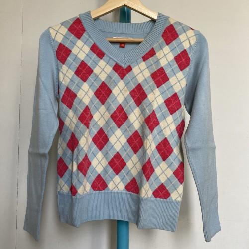 Foto Produk Preloved Sweater Wanita Motif Argyle Merk XSML Warna Biru dari Rumah Soe