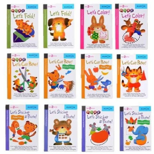 Foto Produk KUMON FIRST STEPS 2 YEARS AND UP LETS CUT STICKER PASTE FOLD COLOR - Fold more dari Thevringe